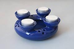 Svietidlá a sviečky - Adventní svícen 2v1 modrý - 4711905_