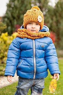 Detské čiapky - Okrová osmičková čiapka a nákrčník - 4717027_