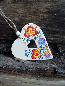 Dekorácie - srdiečko s otvorom/folklór - 4717941_