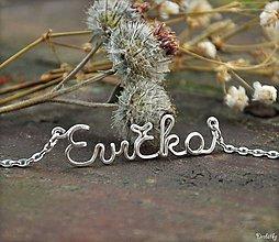 Náhrdelníky - Náhrdelník s menom z postriebreného drôtu: 6-8 písmen (Evička) - 4724604_