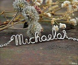 Náhrdelníky - Náhrdelník s menom z postriebreného drôtu: 6-8 písmen (Michaela) - 4724610_