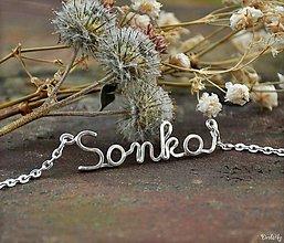 Náhrdelníky - Náhrdelník s menom z postriebreného drôtu - do 5 písmen (Sonka) - 4724623_