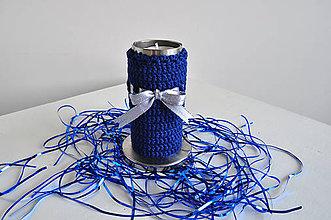 Svietidlá a sviečky - Vianočný antikorový svietnik - modrý - 4725561_