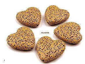Minerály - Lávové korálky srdce 28x29mm - 4732042_