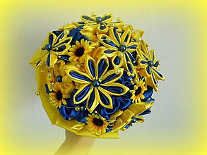 Kytice pre nevestu - Modro žltá kytica - 4732832_