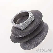 Prstene - Round square - Kovaný prsten damasteel - struktura voda - 4740468_