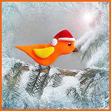 Dekorácie - Vtáčik so santovskou čiapkou (Oranžový) - 4739064_