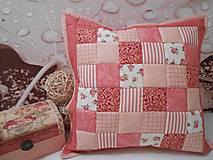 patchwork obliečka 40x40 cm staro-ružovo romantická
