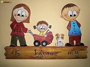 Tabuľky - Menovka - rodinka a psík - 4745623_
