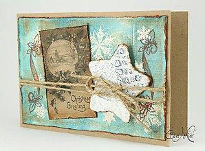 Papiernictvo - Vianočná pohľadnica s recy hviezdou - modrá - 4742222_