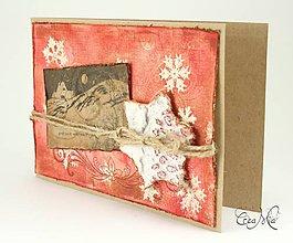 Papiernictvo - Vianočná pohľadnica s recy hviezdou - červená - 4742263_