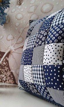 Úžitkový textil - patchwork obliečka 40x40 cm parížsko -modrá  biela - 4753115_