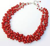 Náhrdelníky - Červený náhrdelník - 4756522_