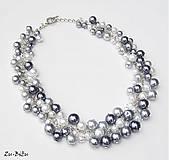 Náhrdelníky - Sivý perličkový - 4756554_