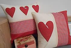 Úžitkový textil - vankúš  obliečka 40x40 cm bordovo červená - smotanová - 4761374_