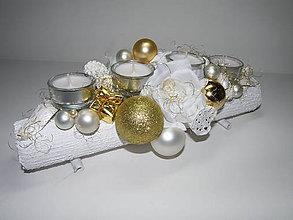 Svietidlá a sviečky - Adventný svietnik_Bielozlaté Vianoce ... - 4769871_