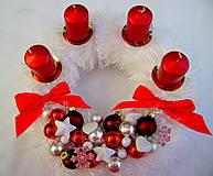 Vianoce - Bielo/červený adventný - 4767638_