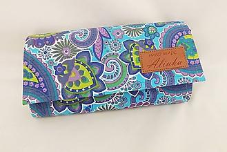 Peňaženky - Peňaženka modrá s abstraktnými ornamentmi - 4780117_
