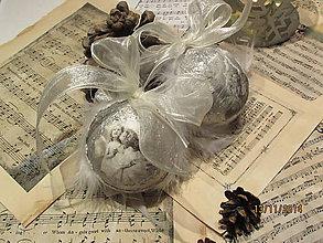 Dekorácie - Vianočné gule s anjelmi - sada 2ks - 4781883_