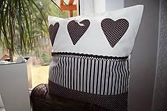 Úžitkový textil - patchwork obliečka 40x40 cm  čokoládovo - smotanová - 4789521_