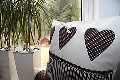 Úžitkový textil - patchwork obliečka 40x40 cm  čokoládovo - smotanová - 4789526_