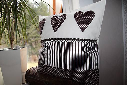 patchwork obliečka 40x40 cm  čokoládovo - smotanová
