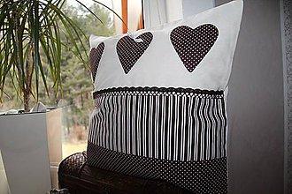 Úžitkový textil - patchwork obliečka 40x40 cm  čokoládovo - smotanová - 4789528_