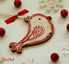 Dekorácie - Vianočná ozdoba VTÁČIK vlnkovaný - 4789272_