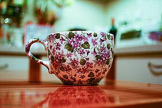 Nádoby - Šálka na čaj oválna 450ml - fialka - 4788694_