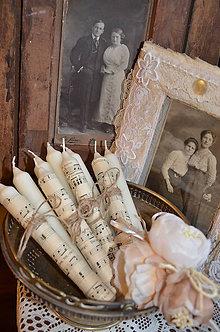 Svietidlá a sviečky - Shabby notové sviečky - 4792552_