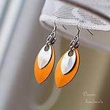 Náušnice - Náušnice Double s malou stříbrnou (Oranžové) - 4792361_