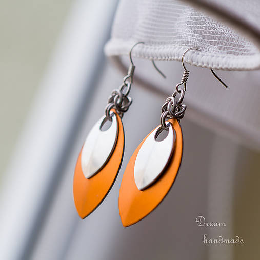 Náušnice Double s malou stříbrnou (Oranžové)