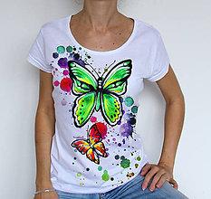 Tričká - farebné motýle - 4790572_