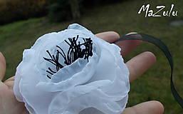 Náramky - čierno & biela anemonka - 4792230_