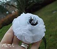 Náramky - čierno & biela anemonka - 4792231_