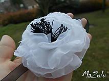 Náramky - čierno & biela anemonka - 4792232_