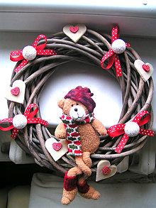 Dekorácie - Vianočný venček veniec na dvere25cm - 4791338_