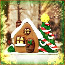 Magnetky - Vianočný stromček a domček - magnetka - 4793765_