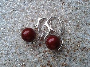 Náušnice - Swarovského bordové perličky - 4803257_