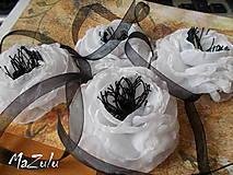 Náramky - čierno & biela anemonka - 4798658_