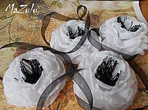 Náramky - čierno & biela anemonka - 4798659_