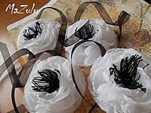 Náramky - čierno & biela anemonka - 4798660_