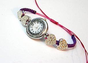 Náramky - pink violette shamballa hodinky - 4800766  63475dc4a2a