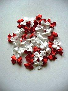 Galantéria - sada bielych a červených mašličiek - 4799813_