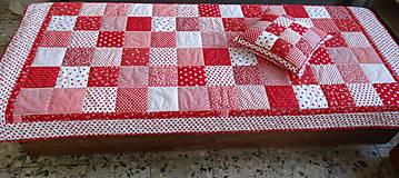 Úžitkový textil - Prehoz patchwork -  červený šach - 4800871_
