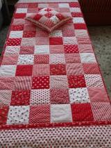 Úžitkový textil - Prehoz patchwork -  červený šach - 4800875_