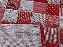Úžitkový textil - Prehoz patchwork -  červený šach - 4800876_