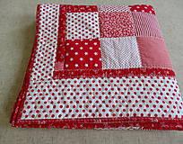 Úžitkový textil - Prehoz patchwork -  červený šach - 4800878_