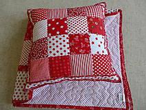 Úžitkový textil - Prehoz patchwork -  červený šach - 4800879_