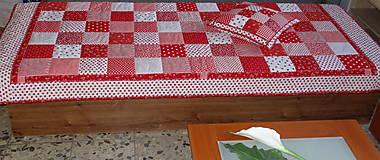 Úžitkový textil - Prehoz patchwork -  červený šach - 4801042_